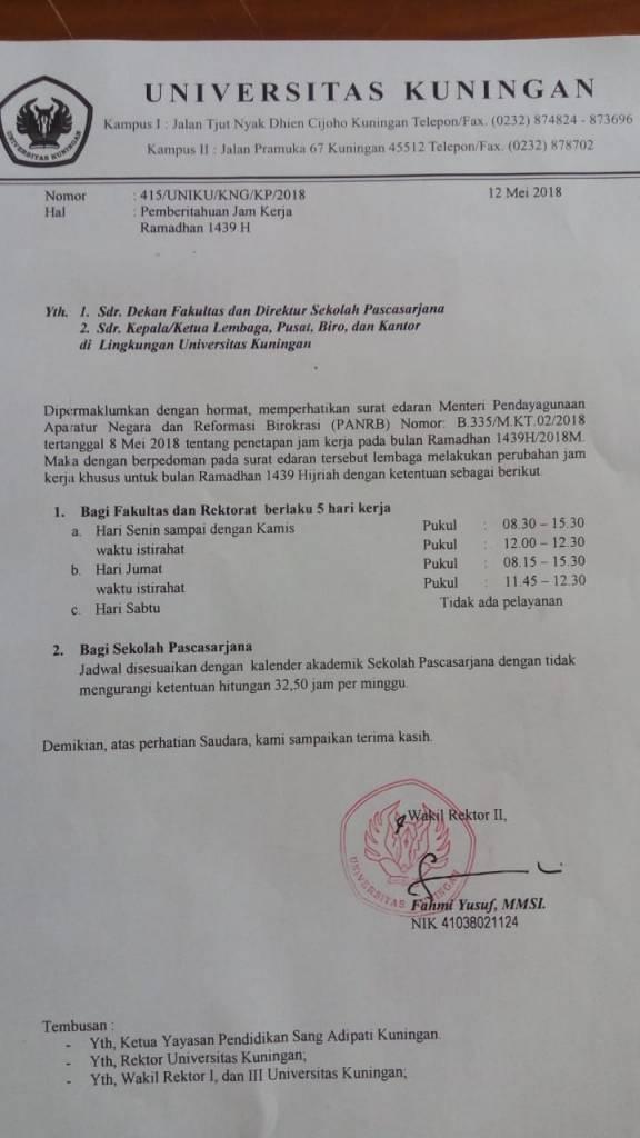 Pemberitahuan Jam Kerja Selama Ramadhan 1439 H