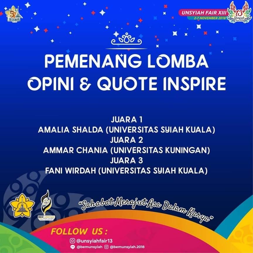 Ammar Raih Juara II Lomba Opini dan Quote Inspire 2018