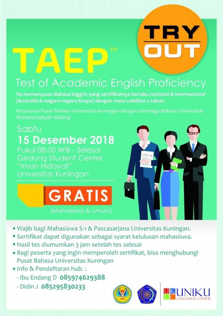 TAEP Gratis Bakalan Digelar Pusat Bahasa Uniku
